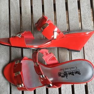 Coach and Four Wilde Tangerine Red Slip On Sandals